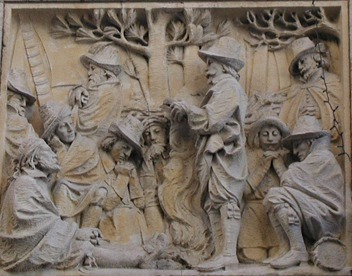 Preaching in the Wilderness bas relief
