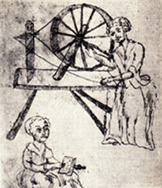spinning wheel, mother + child